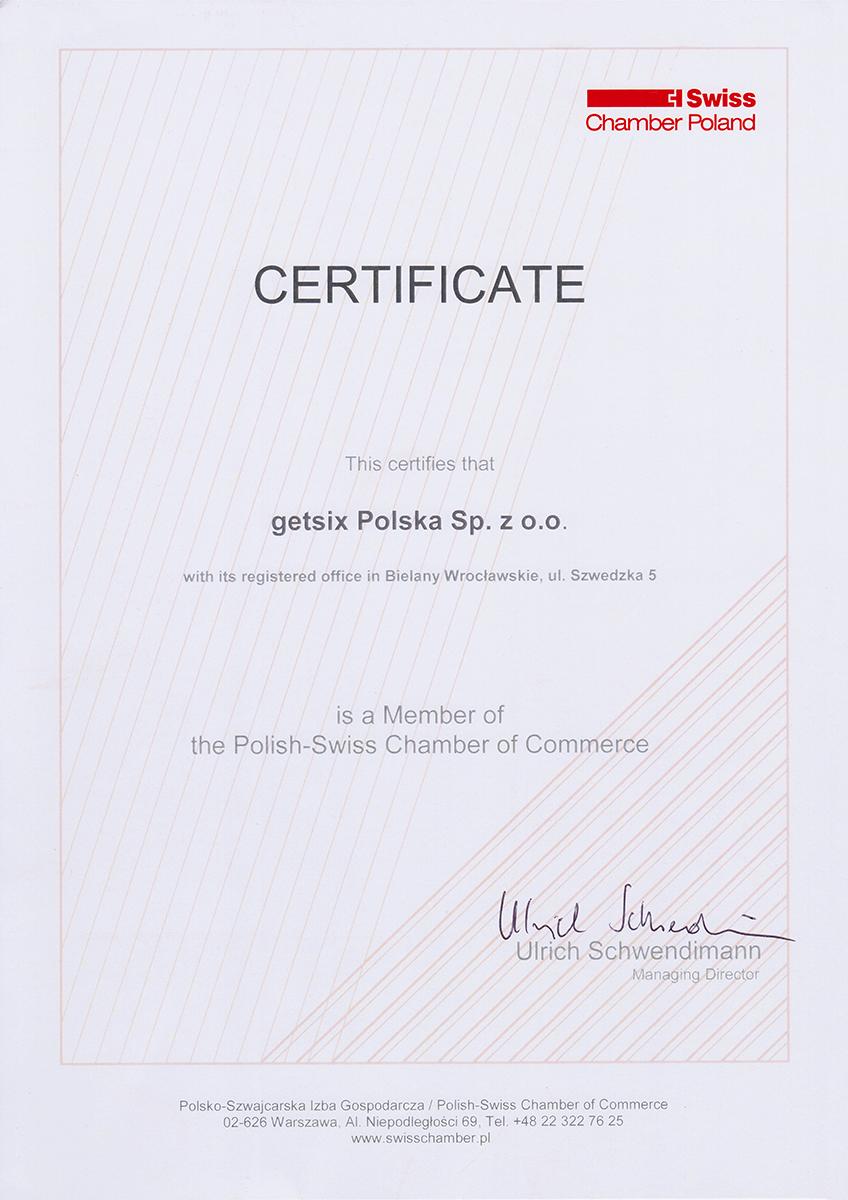 swiss chamber certificate