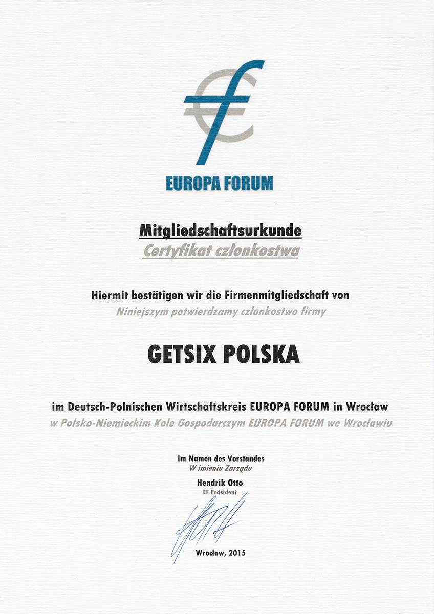 europa forum certificate