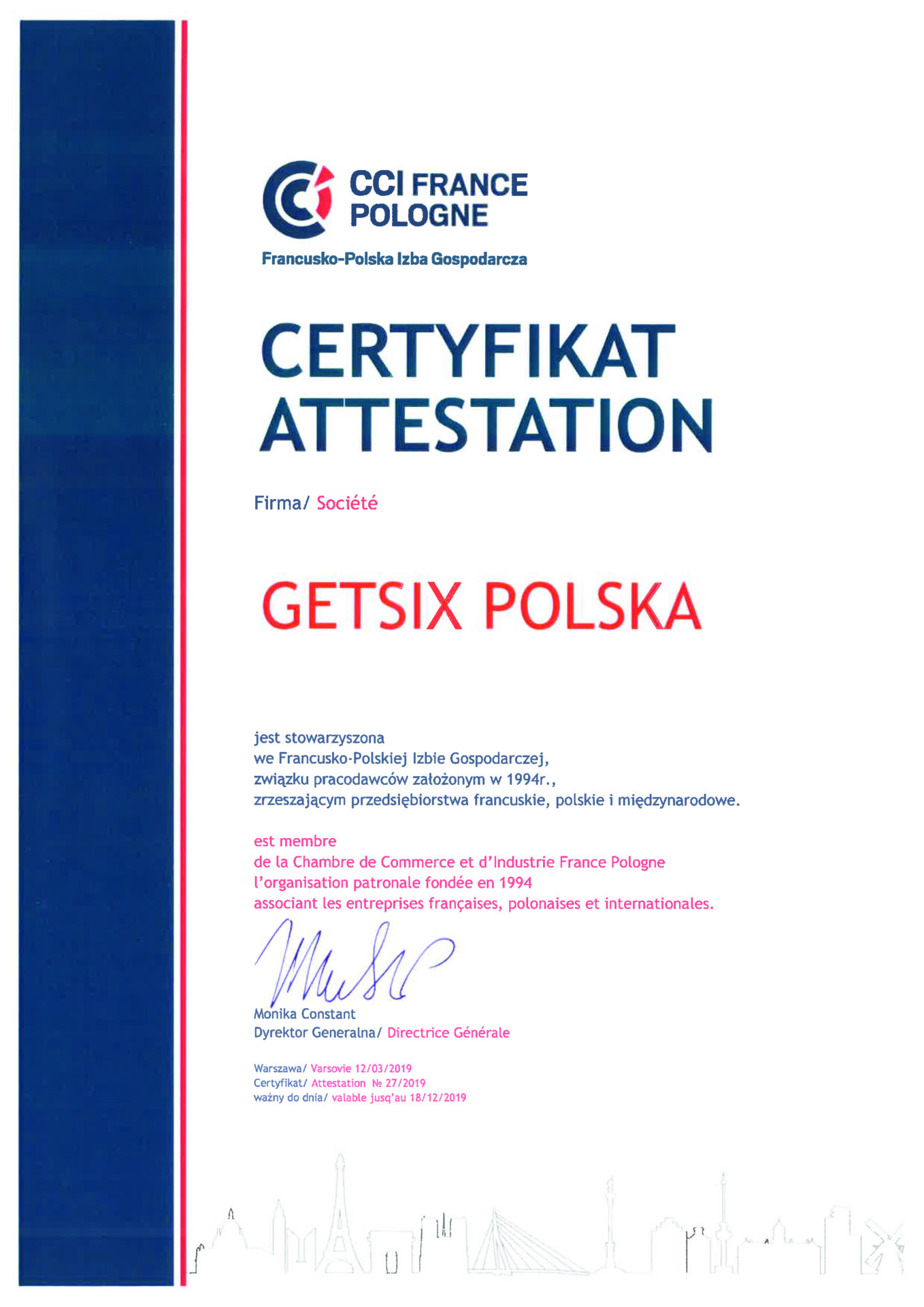 Certificate of French-Polish Chamber of Commerce Membership