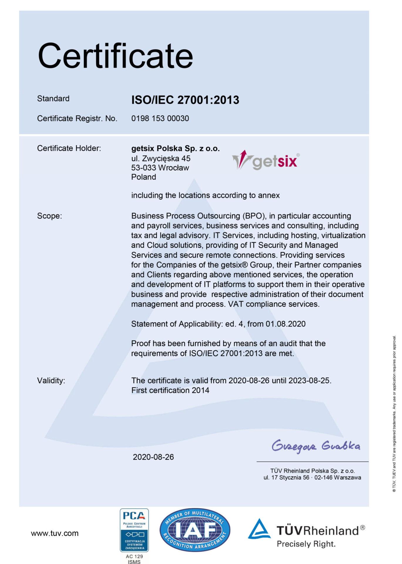 getsix Polska ISO 27001 certificate EN