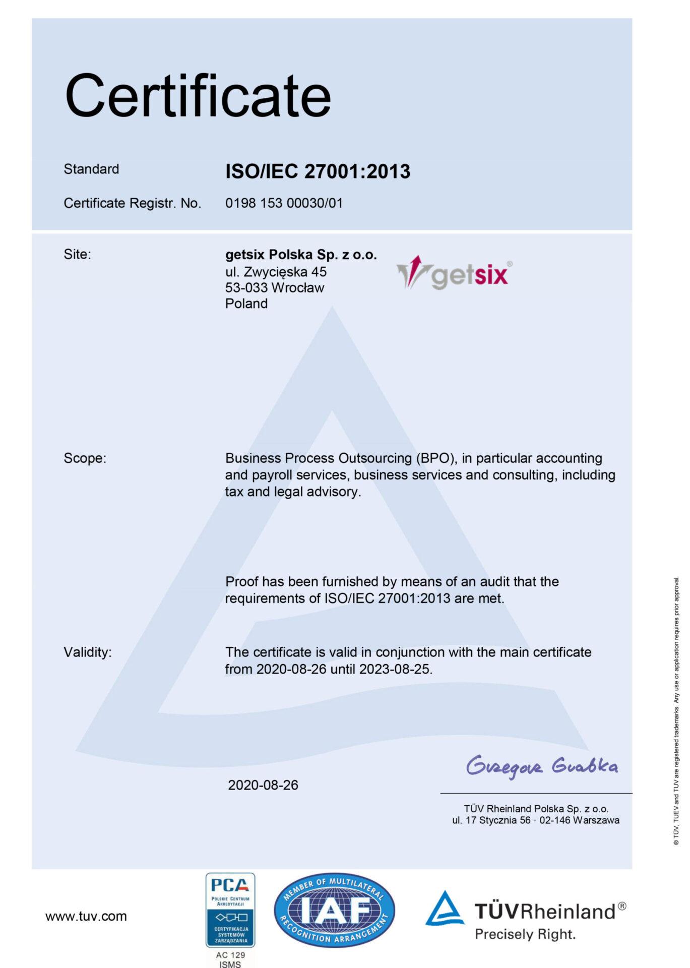 getsix Polska ISO 27001 Certificate