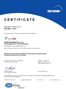 getsix Wrocław ISO 9001 Certificate