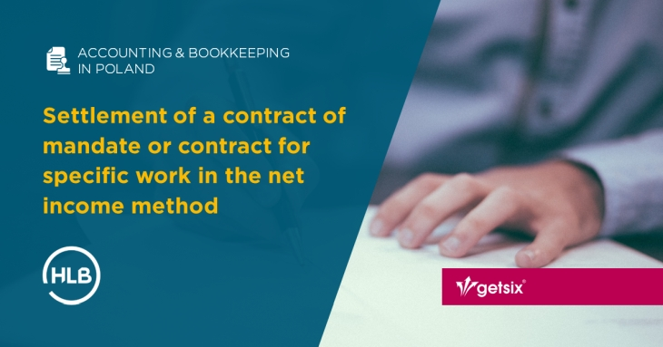Settlement of a contract of mandate or contract for specific work in the net income method